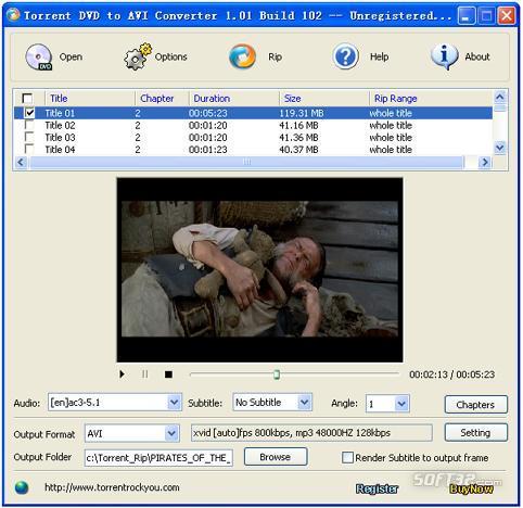 Torrent DVD to AVI Converter Screenshot 3