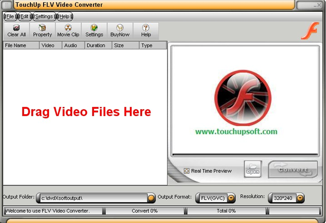 TouchUpSoft FLV Video Converter Screenshot 1