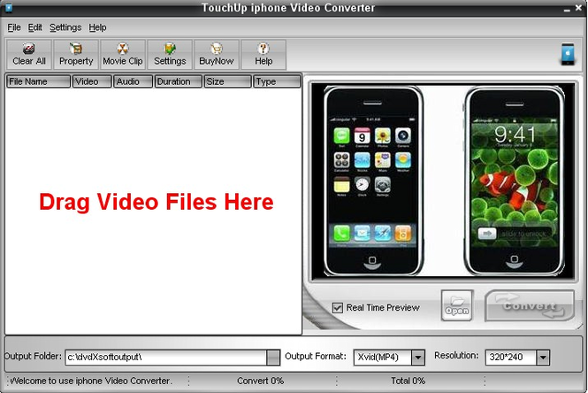 TouchUpSoft iphone Video Converter Screenshot 1