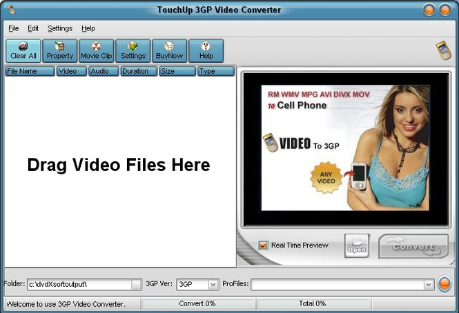 TouchUpSoft 3GP Video Converter Screenshot 1