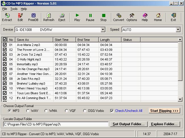 CD to MP3 Ripper Screenshot 1