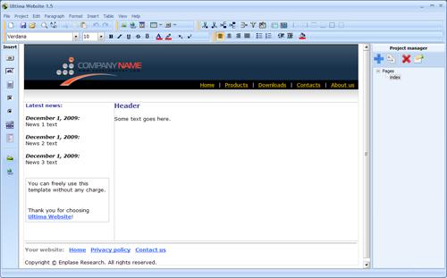 Ultima Website Screenshot 1