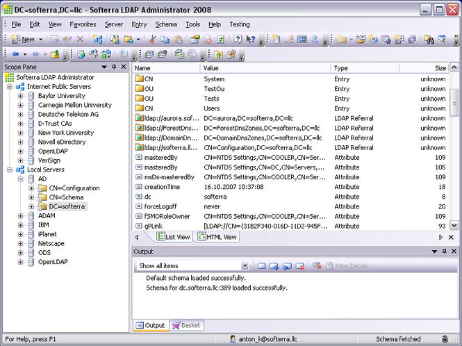 Softerra LDAP Administrator Screenshot