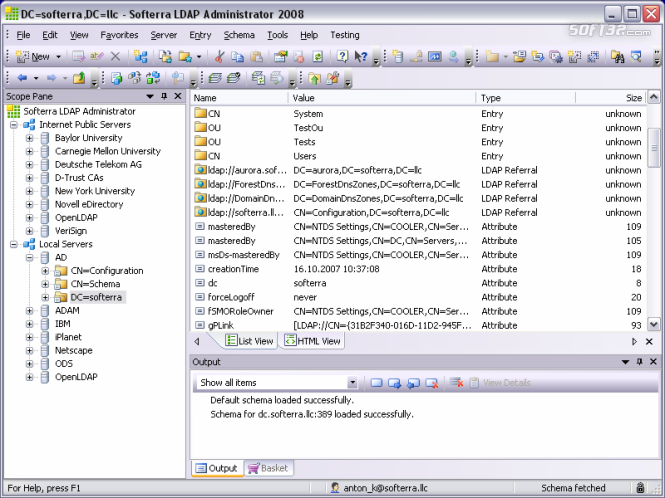 Softerra LDAP Administrator Screenshot 2