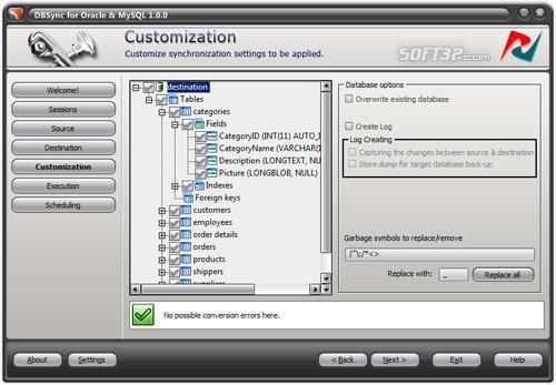 DBSync for Oracle and MySQL Screenshot 3