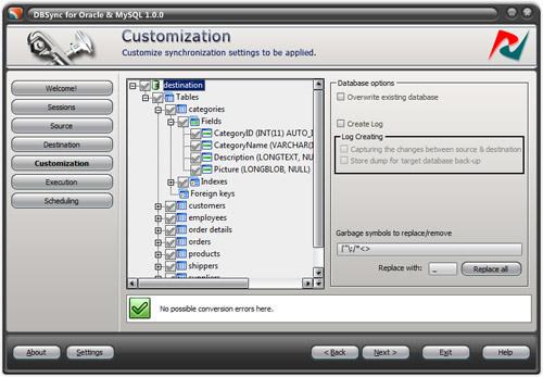 DBSync for Oracle and MySQL Screenshot