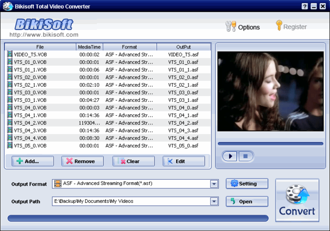 Bikisoft VOB Video Converter Screenshot