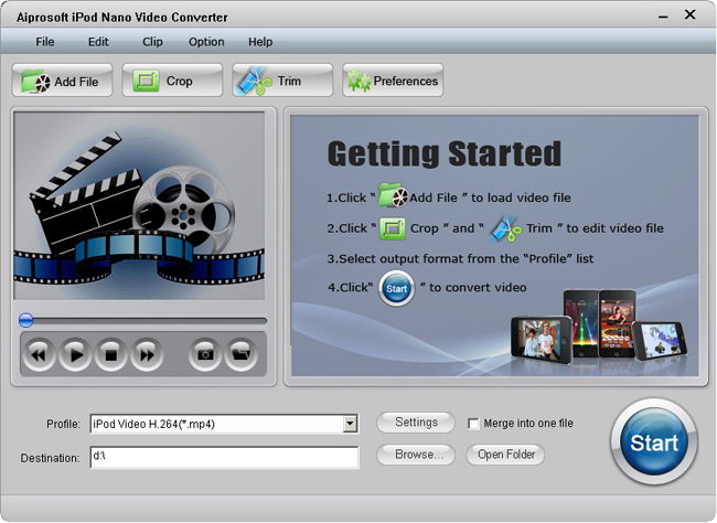Aiprosoft iPod Nano Video Converter Screenshot