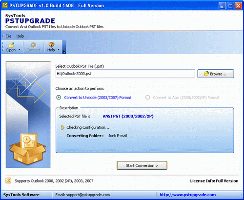 Convert Outlook 2003 to Outlook 2000 Screenshot
