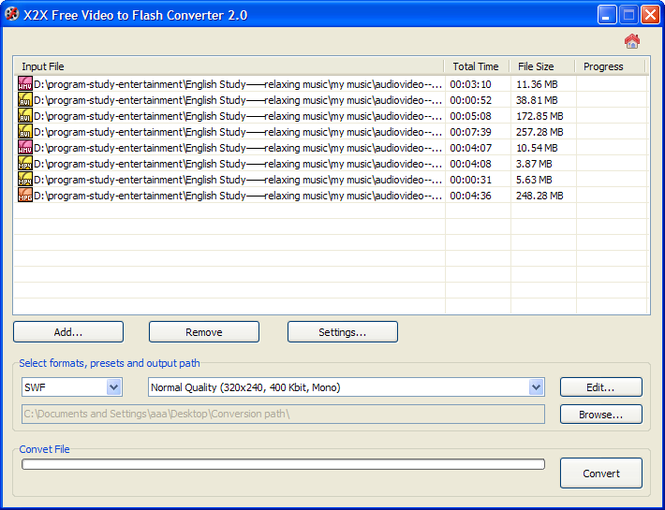 X2X Free Video to Flash Converter Screenshot