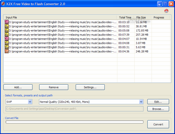 X2X Free Video to Flash Converter Screenshot 2
