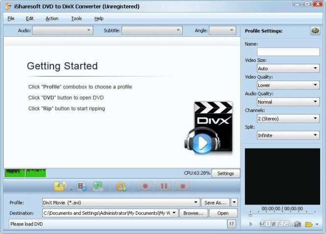 iSharesoft DVD to DivX Converter Screenshot 1