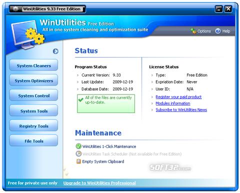 WinUtilities Free Edition Screenshot 2