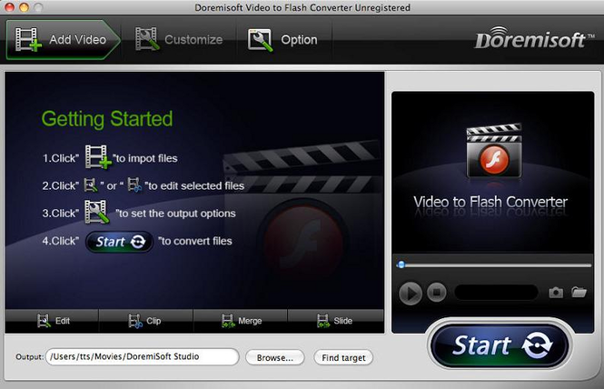 Doremisoft Video to Flash Converter for Mac Screenshot