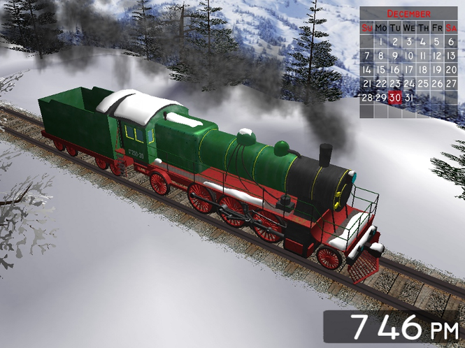 Winter Train 3D Screensaver Screenshot