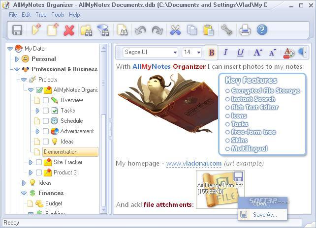 AllMyNotes Organizer Deluxe Edition Screenshot 3