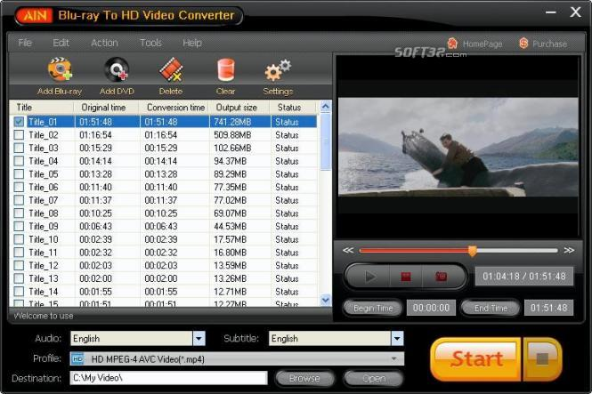 AinSoft Blu-ray To HD Video Converter Screenshot 2