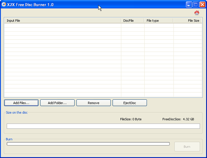 X2X Free Disc Burner Screenshot 1