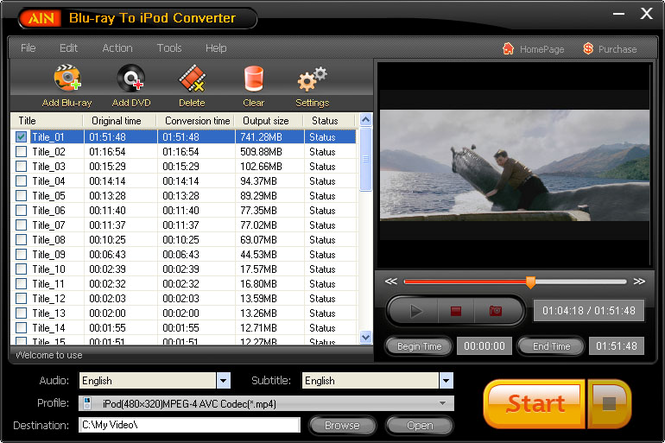 AinSoft Blu-ray to iPod Converter Screenshot