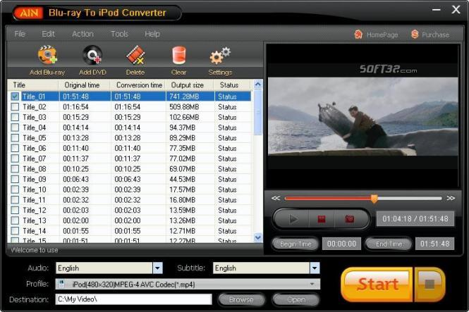AinSoft Blu-ray to iPod Converter Screenshot 2
