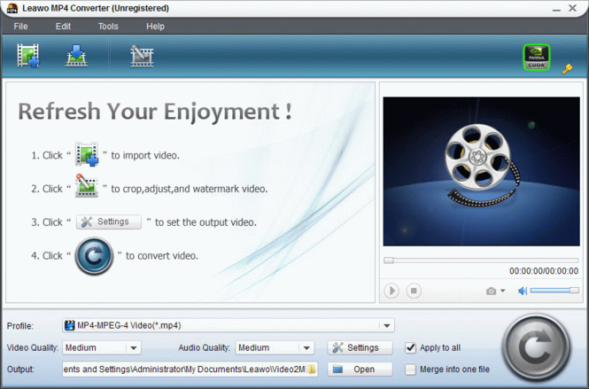Leawo MP4 Converter Pro Screenshot