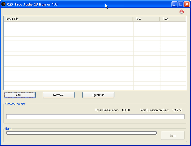 X2X Free Audio CD Burner Screenshot 3