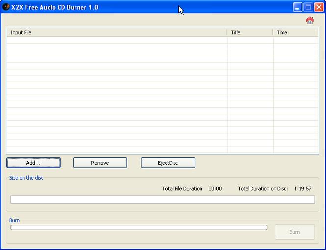 X2X Free Audio CD Burner Screenshot