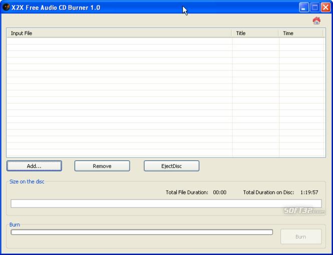 X2X Free Audio CD Burner Screenshot 2