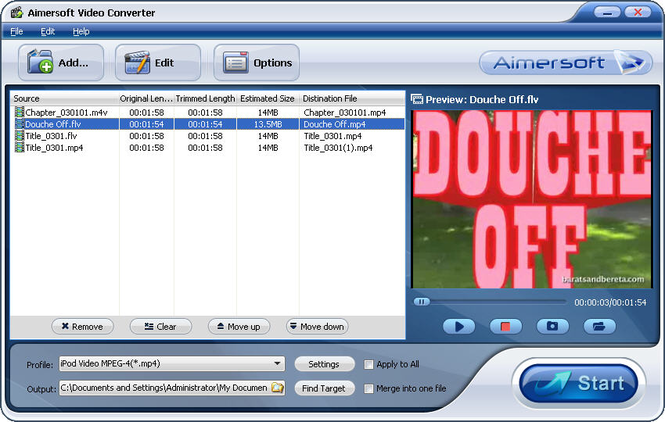 MP4 to MPG converter Screenshot