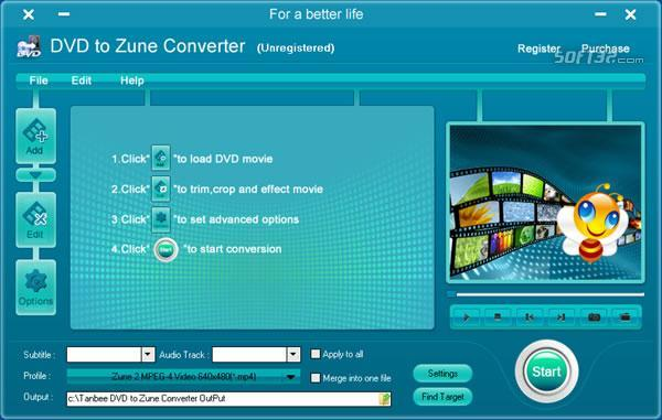 Tanbee DVD to Zune Converter Screenshot