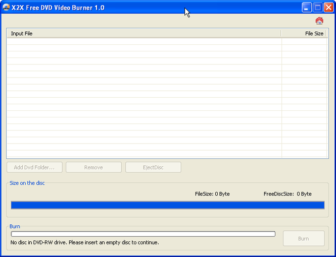 X2X Free DVD Video Burner Screenshot