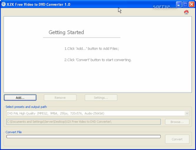 X2X Free Video to DVD Converter Screenshot 2