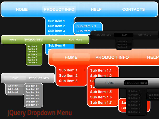 jQuery Dropdown Menu Style 3 Screenshot