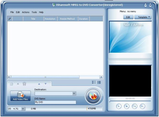 iSharesoft MPEG to DVD Converter Screenshot