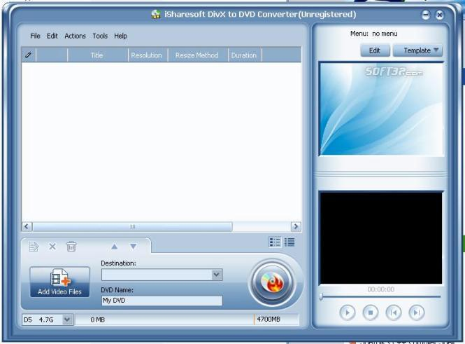 iSharesoft DivX to DVD Converter Screenshot