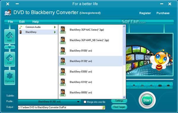 Tanbee DVD to BlackBerry Converter Screenshot