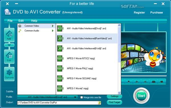 Tanbee DVD to AVI Converter Screenshot