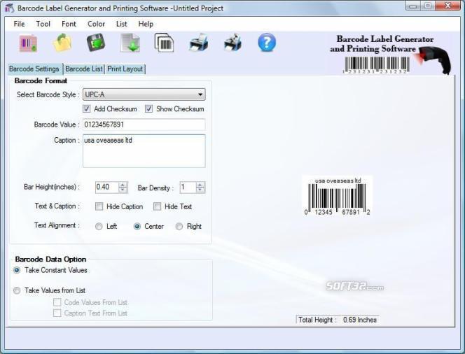 EAN Barcode software Screenshot 1