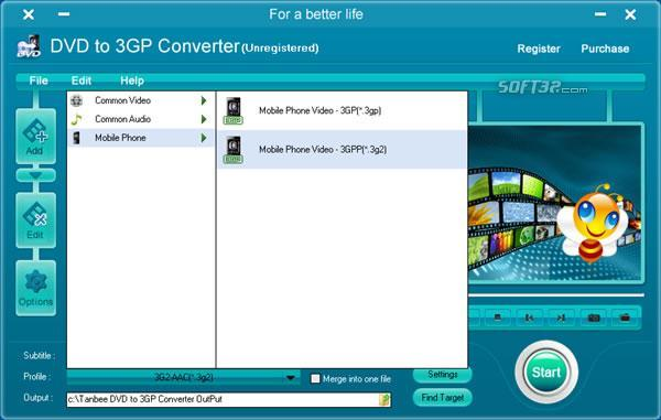 Tanbee DVD to 3GP Converter Screenshot