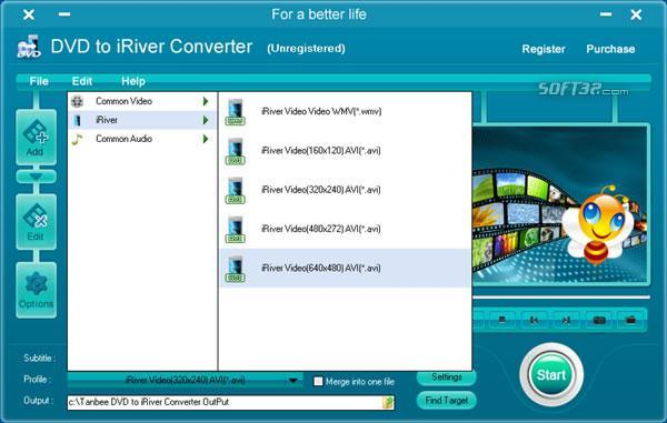 Tanbee DVD to iRiver Converter Screenshot 1