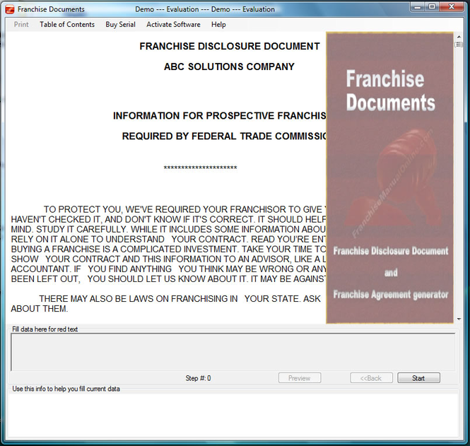 Franchise Documents Screenshot