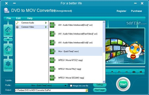 Tanbee DVD to MOV Converter Screenshot