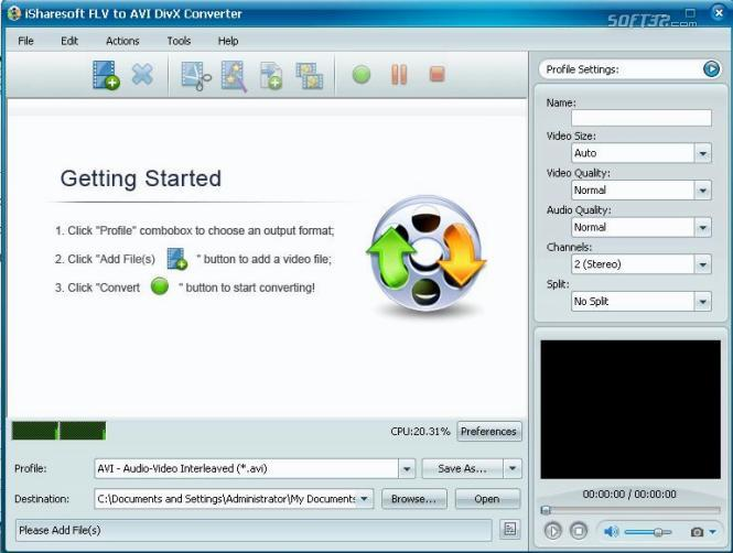 iSharesoft FLV to AVI DIVX Converter Screenshot 1