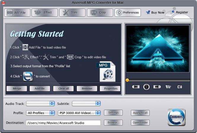 Aiseesoft MPG Converter for Mac Screenshot