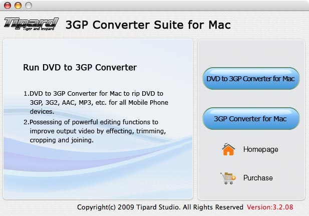 Tipard 3GP Converter Suite for Mac Screenshot