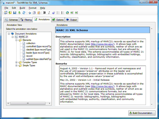 Adivo TechWriter for XML Schemas Screenshot 1