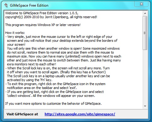 GiMeSpace Free Edition Screenshot