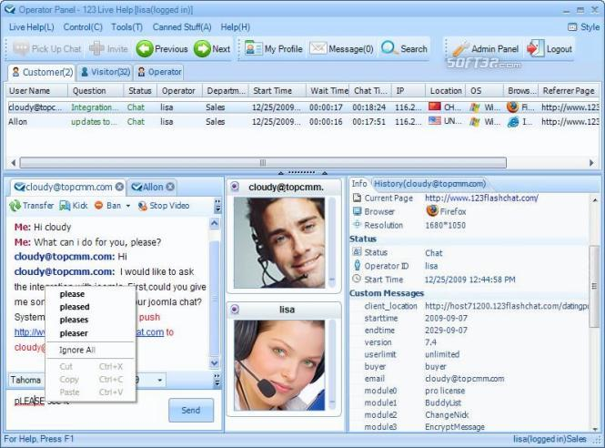 123 Live Help Chat Software Screenshot 2