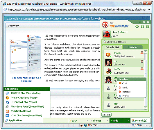 Free vBulletin IM of 123 Web Messenger Screenshot 1