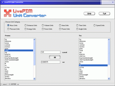 LivePIM Unit Converter Screenshot